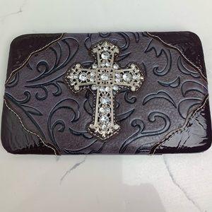 Handbags - Brown Cross Wallet with Rhinestones